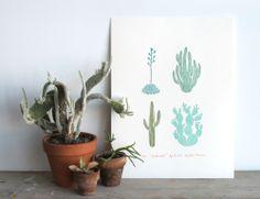 Cactus linocut print by Amelie Mancini. Cactus Wall Art, Cactus Print, Linocut Prints, Art Prints, Design Art, Graphic Design, Print Design, Interior Design, Cactus Photography