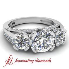 Round 3 stone Vintage Style Diamond Engagement Ring