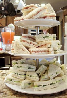 Seriously Daisies: Pink & Gray Baby Shower {Food & Drinks Bar} sandwiches. - good decoration ideas too