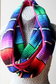 Colorful Blue Purple Mexican Serape and Soft Pink by JustDawnelle