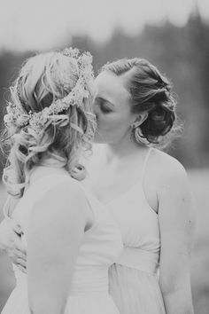 Rustic Colorado Lesbian wedding photos featuring two brides and two dresses. Lesbian Wedding Photos, Lgbt Wedding, Wedding Kiss, Wedding Bells, Wedding Bride, Dream Wedding, Wedding Happy, Summer Wedding, Lesbian Love