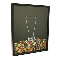 Beer Cap Collector Shadow Box  Beer Glass Design by CraftBeerHound
