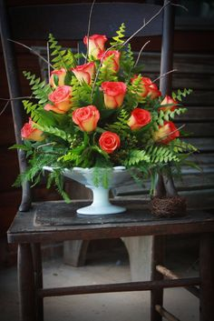 Here are a few photos with steps on how to arrange flowers. I learned how to arrange flowers from my Mom. She would always give me construc...