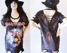 Iron Maiden Deep v bleached distressed shirts dress or top S-XL back cut Cut Up T Shirt, Lace Up T Shirt, Diy Emo Clothes, Diy Clothing, Diy Cut Shirts, T Shirt Diy, Cut Tees, Cut Shirt Designs, Iron Maiden Shirt