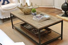 OK I have this table that has metal legs. It is not coffee table size but more end table height. Distress the metal - replace the top with distressed wood. This table is expensive. Can I get the same look??