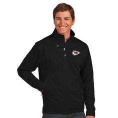 NFL Kansas City Chiefs Antigua Discover Desert Dry Xtra-Lite Half-Zip Jacket - Black