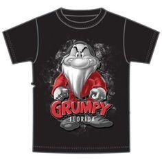 Walt Disney World Grumpy Florida Souvenir T-Shirt, Men's Black Tees, Lrg or XL #Disney #GraphicTee