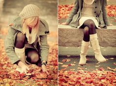 Oh how I love fall...and her hat...and her jacket...and her boots...and her tights :)
