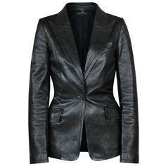 GUCCI slim fitted black leather peaked lapel jacket power blazer 40-IT/4-US #Gucci #Blazer #LeatherJacket
