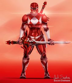Red Ranger with reimagined armor, by artist Isaiah Stephens