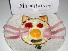 L'oeuf chat (pour les enfants) - Recette de cuisine Marmiton : une recette Fun Cooking, Breakfast, Recipes, Food, Halloween, Table, Creative Food, Creativity, Balanced Diet