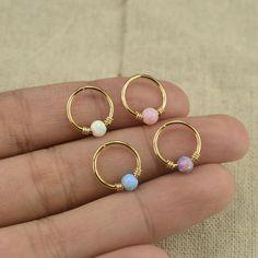 Items similar to opal earring,opal cartilage earring,tragus earring,girlfriend earring,bff gift on Etsy Wire Jewelry Rings, Handmade Wire Jewelry, Cute Jewelry, Body Jewelry, Jewelery, Jewelry Accessories, Wire Jewelry Designs, Jewelry Ideas, Helix Earrings