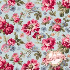 """Lakehouse Penelope 11041 Aqua by Holly Holderman for Lakehouse Dry Goods: Lakehouse Penelope 4, 5, 6 by Holly Holderman for Lakehouse Dry Goods.  100% cotton, 44""""/45"""" wide.  This fabric features an allover floral and rose design with pink roses on an aqua background."""