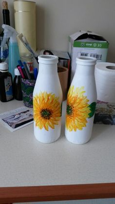 Sunflower painted Milk bottle