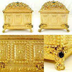 Antique Austrian Jeweled Encrusted Gilt Ormolu Hinged Jewelry Box / Casket