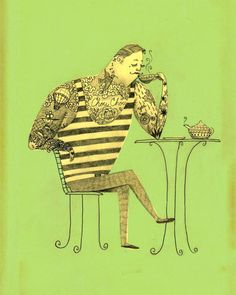 Print  Gentleman Tea Drinker by CassiaLupo on Etsy