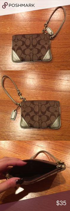 Authentic Coach wristlet Tan with gold Coach Bags Clutches & Wristlets