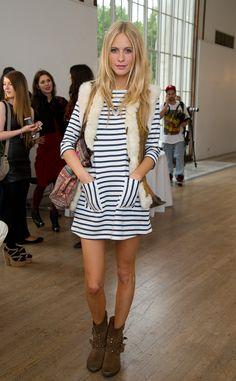 Poppy Delevingne wtith Striped dress and fur vest #fashion #street style
