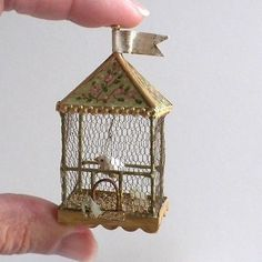 Starting at $147.00 Gorgeous Green Gold Vtg Style Birdcage Veronique Lux French Dollhouse Miniature