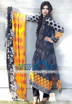 Maria B Printed Linen Outfits For Winter Fashion Trends Europe 2013-2014 winter dresses pakistani, winter fashion clothes pakistan, winter fashion trends in pakistan 2013-14, pakistani fashion clothes in winter 2013, pakistani linen khaddar suits 2013 The thrilling winter collection 2013-2014 by Maria B crafted in Linen is designed to prompt plenty of appreciative stares for you. by www.dressrepublic.com