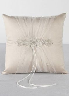 Wrapped in delicate ivory tulle gathered over rich champagne satin, this ring bearer pillow is an elegant yet classic design. An elaborate rhinestone and beaded appliqué is the perfect embellishment for this radiant vintage style pillow. Wedding Ring Cushion, Cushion Ring, Wedding Pillows, Ring Bearer Pillows, Ring Pillows, Bridal Rings, Wedding Rings, Wedding Veils, Wedding Hair