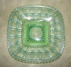 Vintage Imperial Glass Plate in the beaded block pattern | aglimpseofglory - Glass on ArtFire