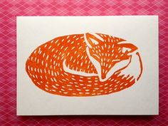 White card with fox print. Handcrafted Lino Printed card by Nina Martell. Card measures x cm Comes with envelope. Linocut Prints, Art Prints, Block Prints, Lino Art, Watercolor Birthday Cards, Linoprint, Fox Print, Xmas Cards, Screen Printing