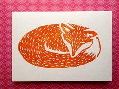 Original  'Foxy Dream' Lino printed card.