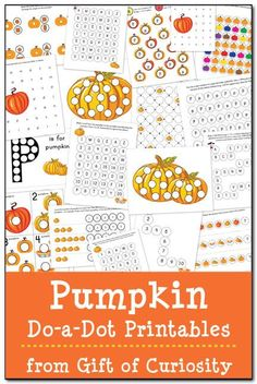 Free Pumpkin Do-a-Dot printables featuring 19 pages of activities to celebrate the season while helping your young children learn a variety of skills. #DoADot #freeprintables #pumpkins #halloween || Gift of Curiosity
