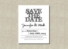 Printable Save the Date Card  Handdrawn font  by DontPanicDesign, $12.00