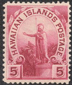 """Hawaii –  1894 Scott 76 5c rose lake  """"Statue of Kamehameha"""""""