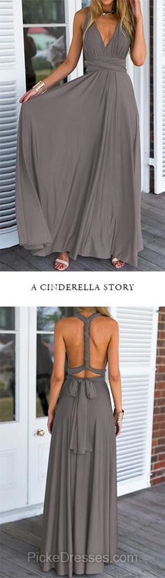 Backless Prom Dresses Long, Informal A-line Prom Dresses V-neck, Chiffon Party Dresses Sexy with Ruffles