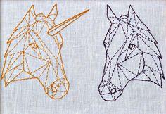 Einhorn und Pferd im Geometrie-Stil - Stickvorlagen via Makerist.de