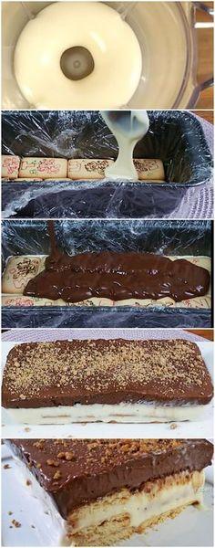 COMO FAZER SOBREMESA RÁPIDA | BISCOITO GELADO de LEITE CONDENSADO CREMOSO #torta #tortafacil #tortarapida #sobremesa #sobremesas #doce
