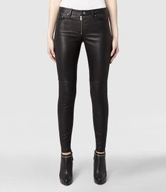 Womens Leather Zip Skinny Jeans (Black) | ALLSAINTS.com. Pure lust