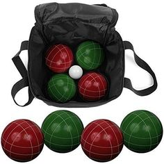 Bocce Ball Set Carrying Case Various Licenses Premium Outdoor Lawn Balls 9 Piece #BocceSets