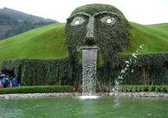 This amazing fountain forms an entrance to the Swarovski headquarters in Wattens, Austria.