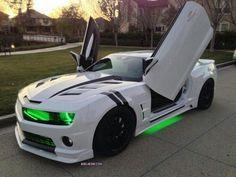 Camaro with green headlights + underglow