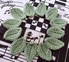 Crocheted Leaves  Avocado by FineThreads on Etsy, $3.00