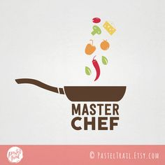 Custom Premade Food Logo Design - Master Chef logo with pan and spices F001