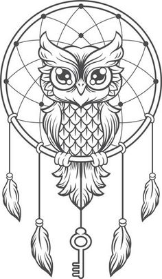 4 mandalas de animales para colorear e imprimir imagenes de ms hand drawingsowl dreamcatcher - Dream Catcher Coloring Pages