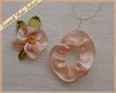 flor bordada - hilvanar la cinta                                                                                                                                                      Mais