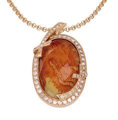 Pendant Mystery Swords, Orange Quartz, Red Dragon on Meissen Porcelain®, 750 rose gold 8,5 g, 66 champagne-coloured diamonds 0,74 ct