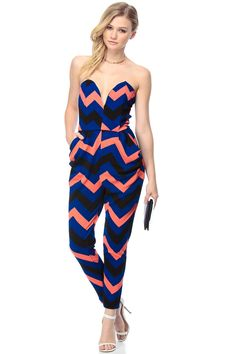 b0b232abf56 Chevron Print Plunging Harem Jumpsuit   Cicihot Top Shirt Clothing Online  Store  Dress Shirt
