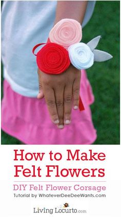 How to make a Simple DIY Felt Flower. Cute Felt Flower Corsage Craft for kids. What a great idea to decorate anything with these pretty fabric flowers! Dance Crafts, Crafts To Do, Felt Crafts, Fabric Crafts, Crafts For Kids, Diy Crafts, Party Crafts, Creative Crafts, Felt Flowers