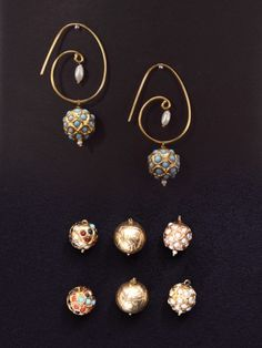 Rajasthani interchangeable drops-Four in One Golden Ball Dangler