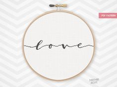 CURSIVE LOVE counted cross stitch pattern quick saying easy
