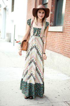 Hippie dress / floppy hat