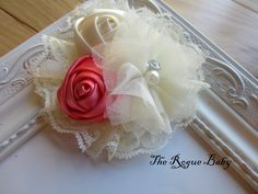 Coral  & Ivory Cream Hair Flower chiffon and satin. Wedding Bridal Flower Girl. Headband Photo Prop Toddlers Girls Women. $10.00, via Etsy.