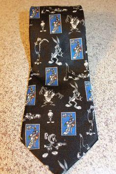 LOONEY TUNES 1997 Stamp Necktie Bugs Bunny Taz Marvin Tweety Warner BrothersNWT #LooneyTunes #NeckTie